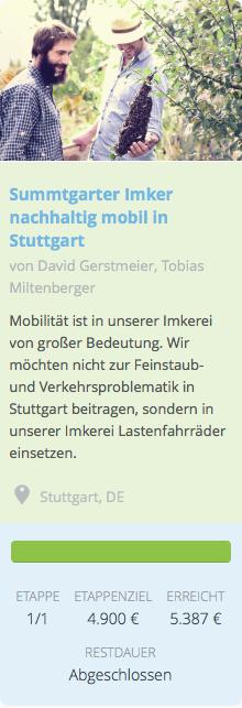 Summtgarter Imker nachhaltig mobil in Stuttgart